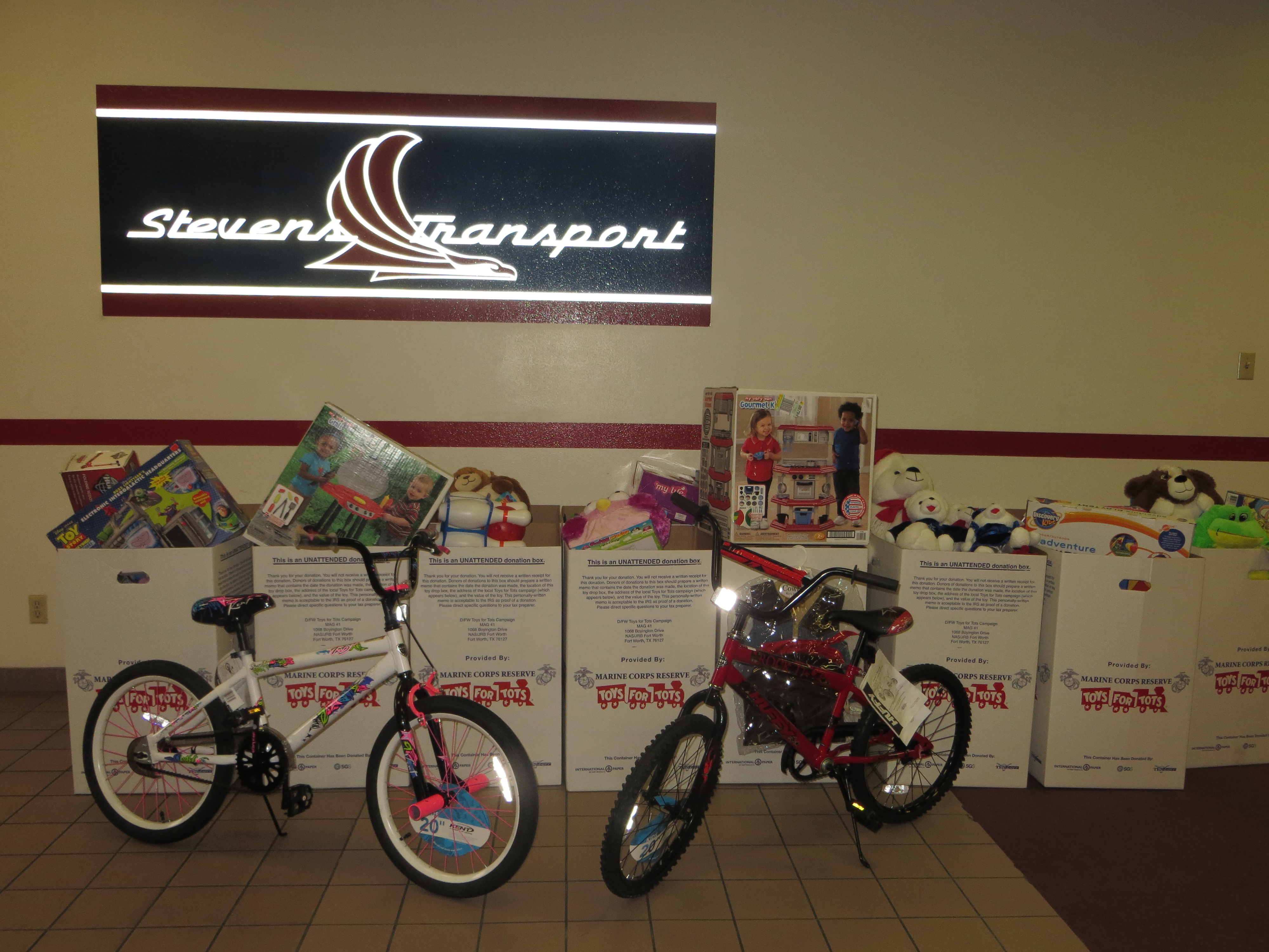 photo of collected toys at Stevens Transport