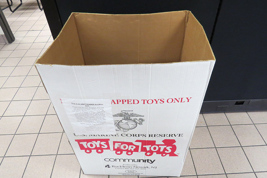 photo of Toys for Tots donation box at Stevens Transport