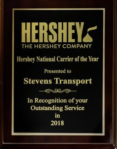 image of Hershey Carrier of the Year award plaque