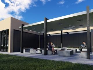 Image of Stevens Transport Driver Lounge Exterior Seating Area