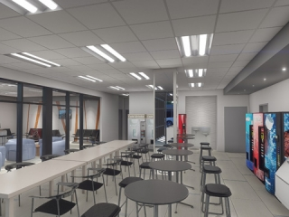 Image of Artist Rendering of Stevens Driver Lounge Interior View of Dining Area