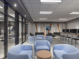 Image of Artist Rendering of Stevens Driver Lounge Interior View of Seating Area