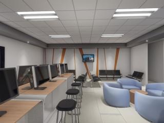 Image ofArtist Rendering of Stevens Driver Lounge Interior with Digital Conveniences