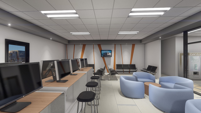 Image ofArtist Rendering of Stevens Driver Lounge Interior with Digital Conveniences