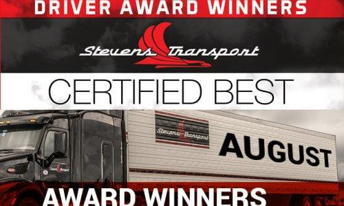 image of Stevens Transport Monthly Award Winners banner